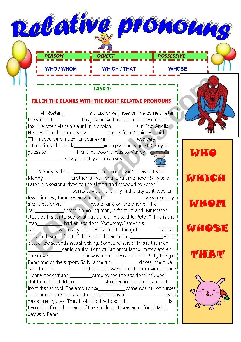 RELATIVE PRONOUNS : WHO - WHICH -WHOSE -WHOM  -THAT