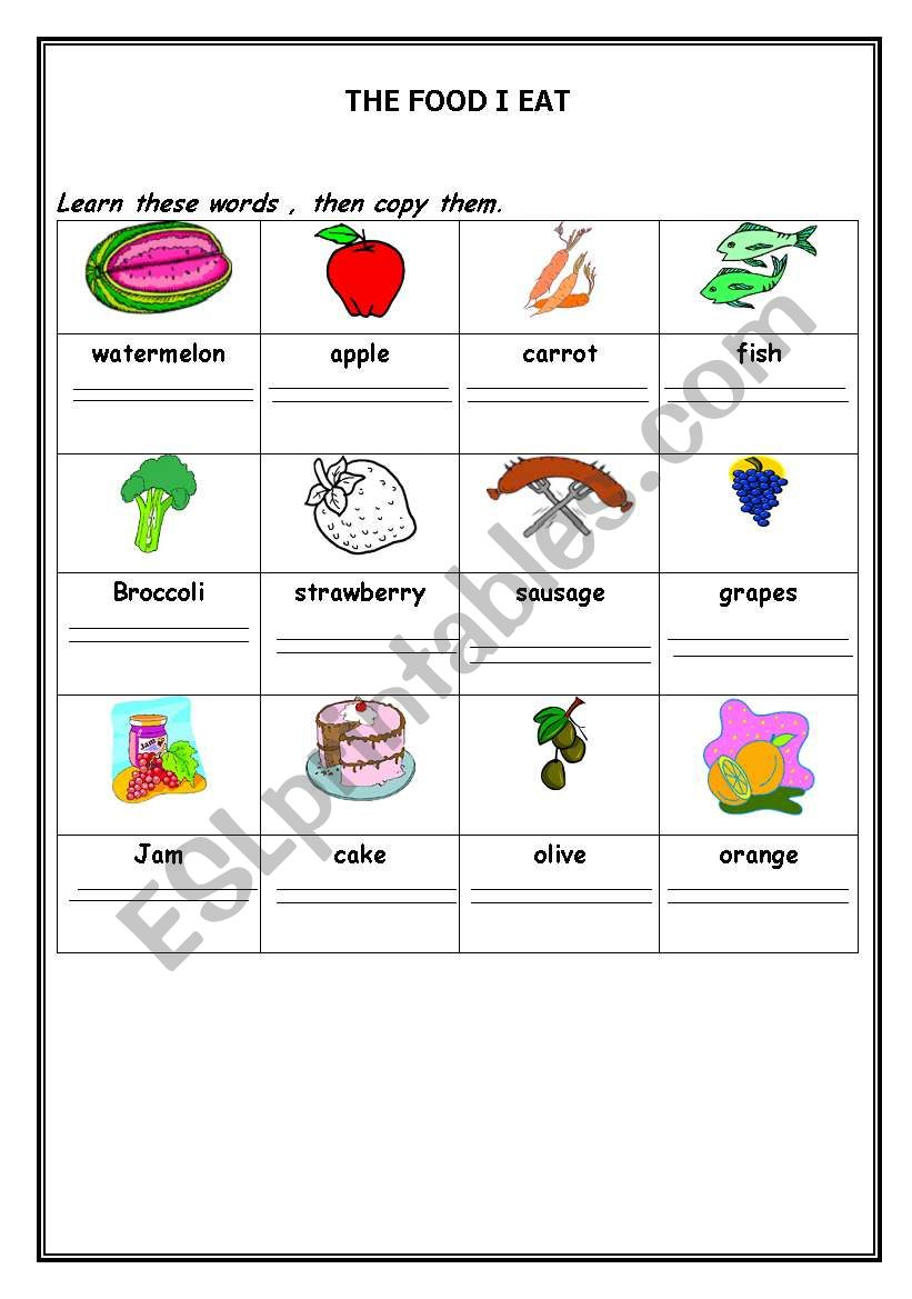 The foods Pictionary worksheet