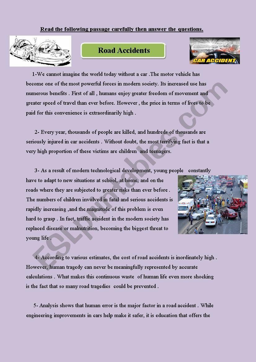 Car Accidents Exam - ESL worksheet by hope223