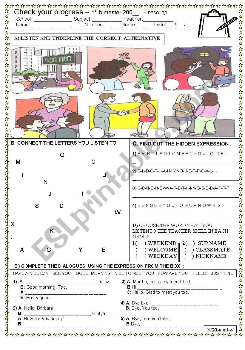 GREETINGS TEST  worksheet