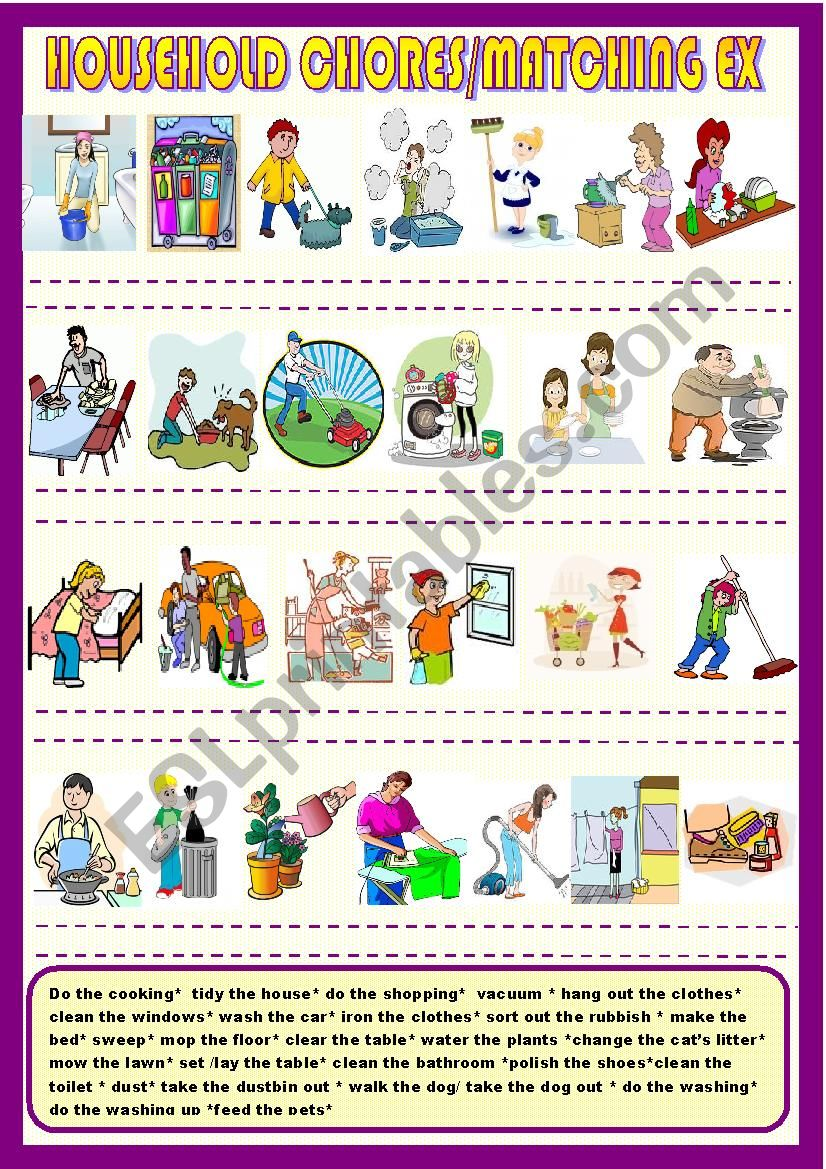 Household chores, matching  worksheet