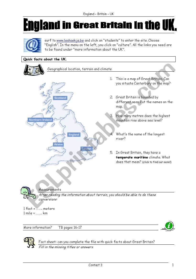 Britain - ICT task worksheet