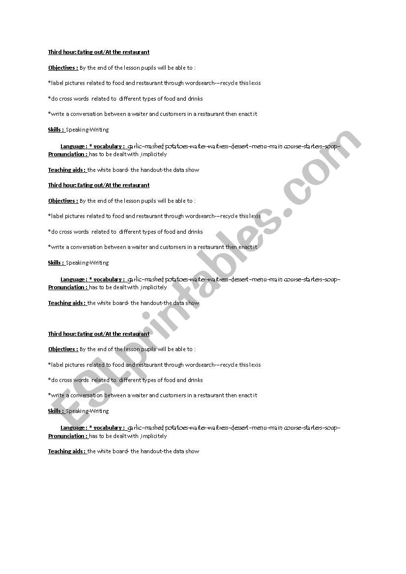 lesson plan eating out at the restaurant - ESL worksheet by loubaba