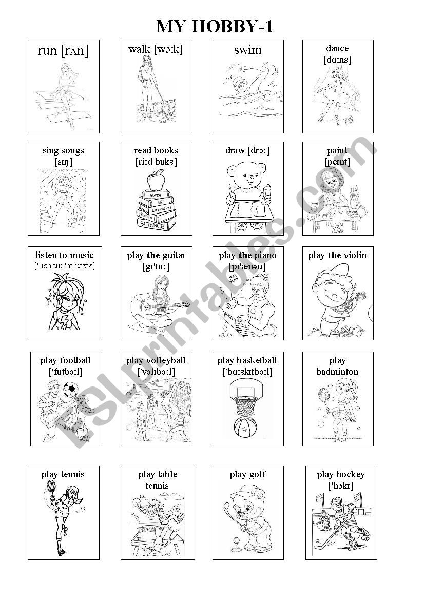 Hobby-1 Picture Vocabulary worksheet