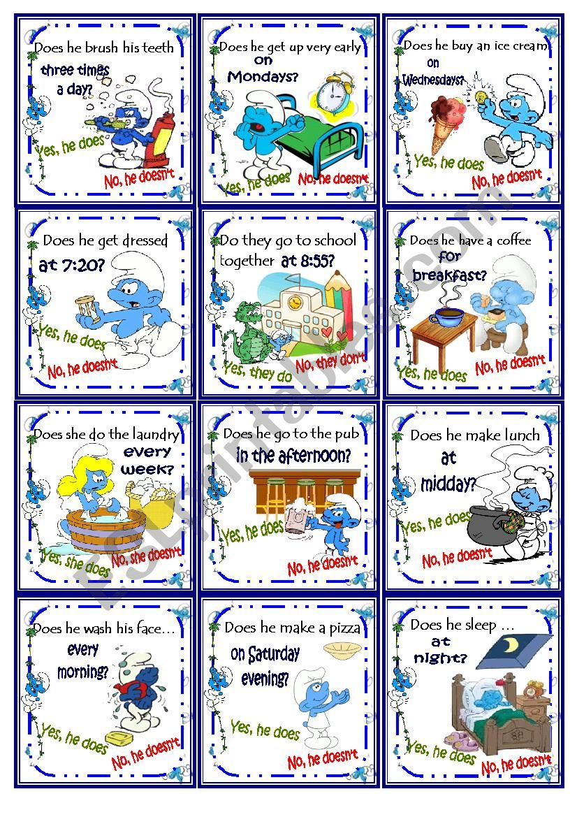 Smurfs Daily Routine (present Simple)Go Fish Card Game!