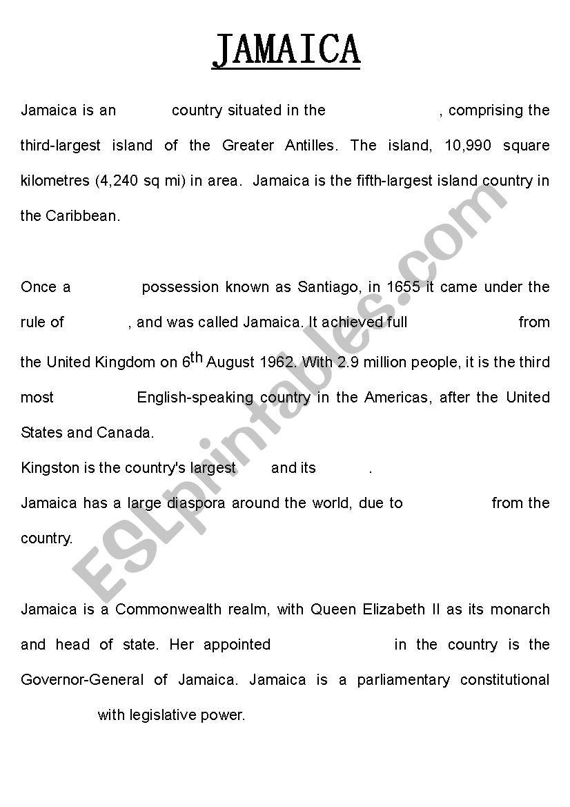 Jamaica Summary worksheet