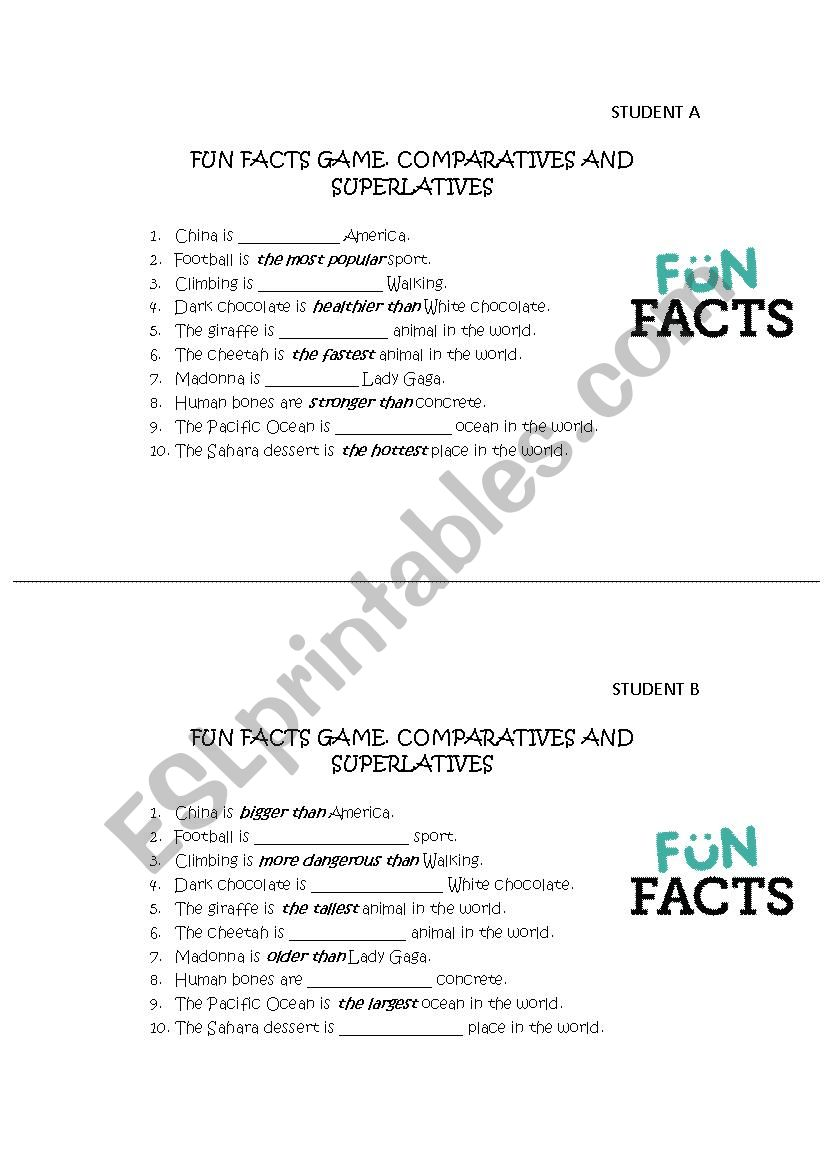 Comparatives and Superlatives FUN FACTS GAME