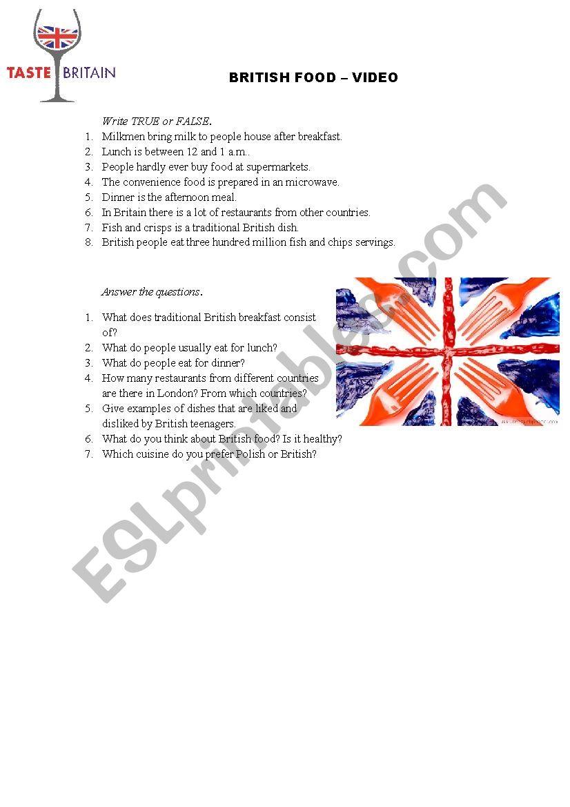 British food - video worksheet