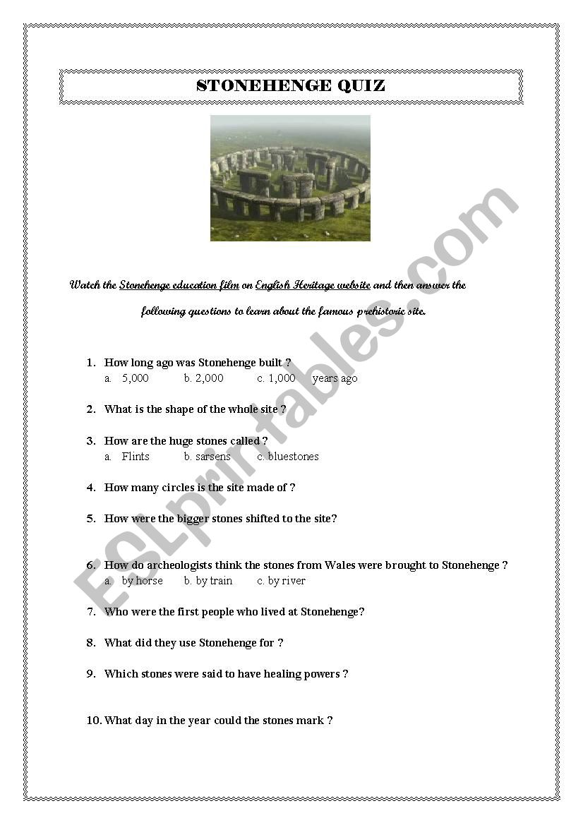 STONEHENGE QUIZ worksheet