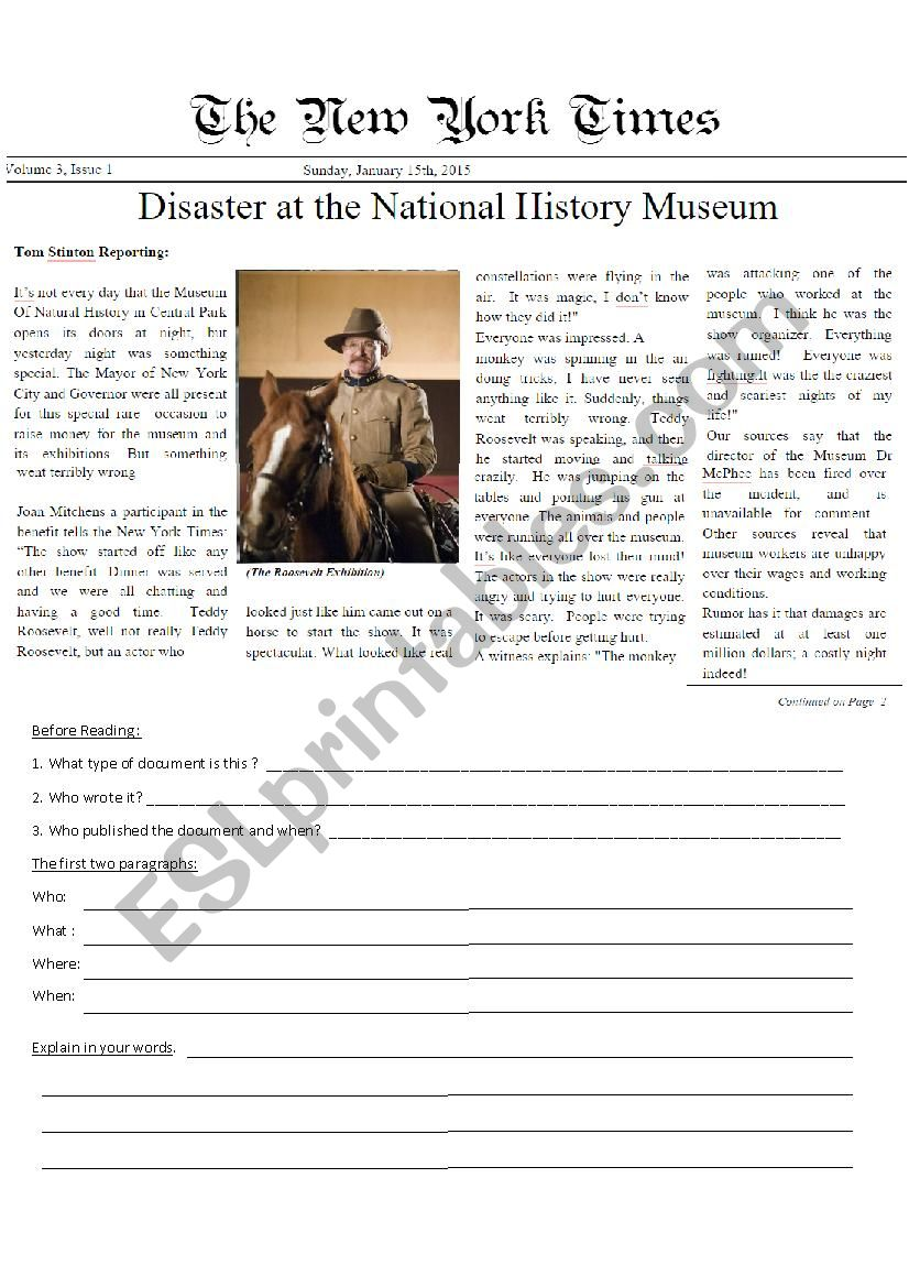 A Night at the Museum 3: Newspaper Article