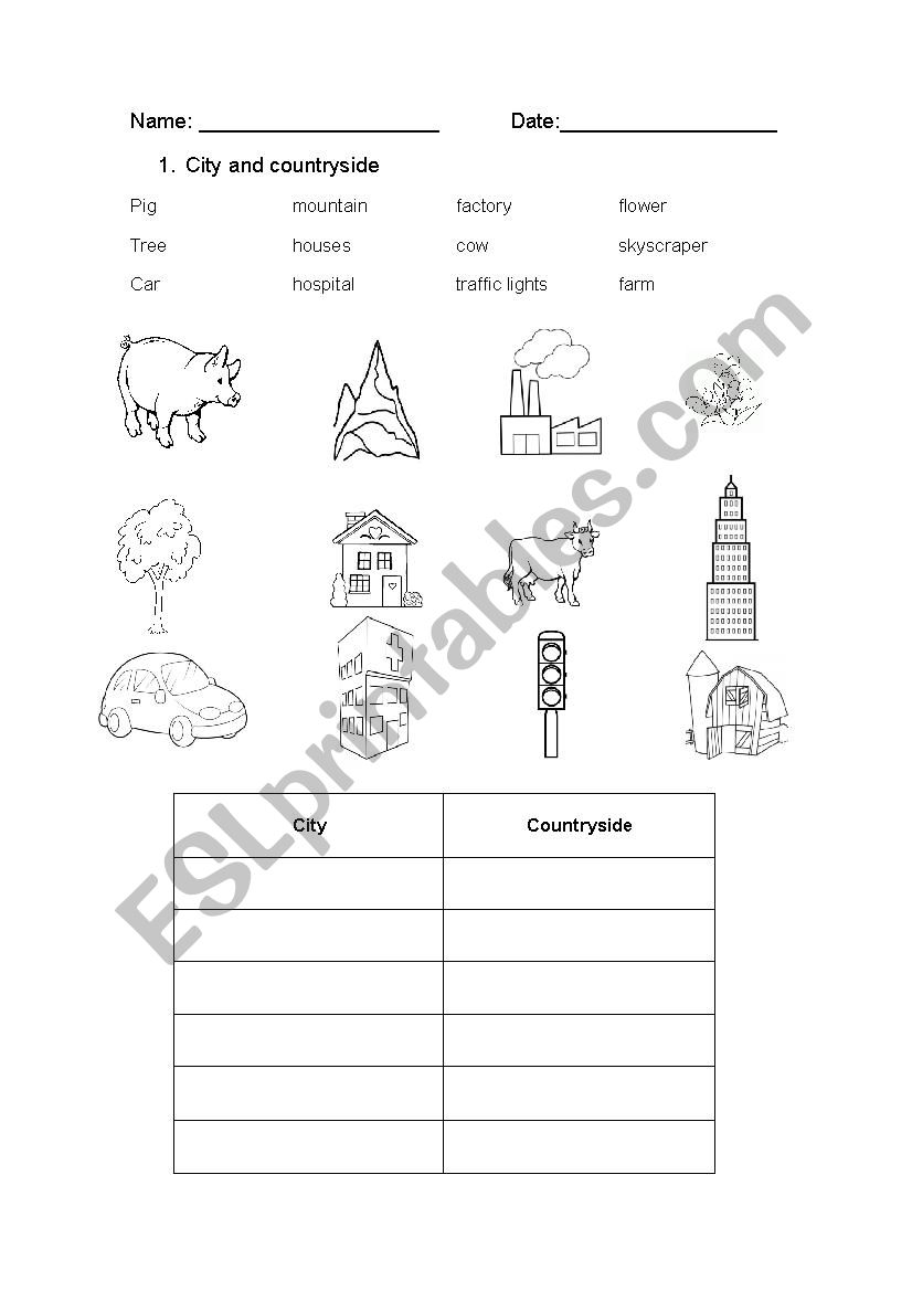 city and countryside worksheet
