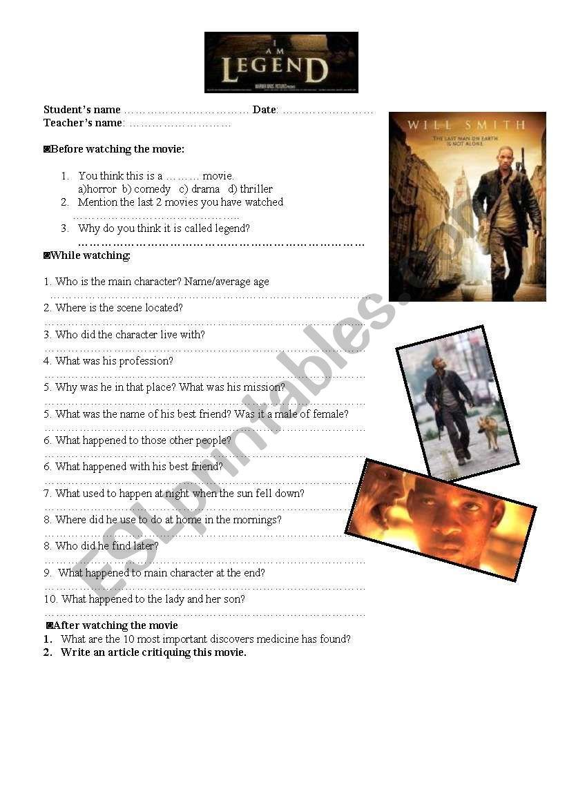 I AM LEGEND movie worksheet