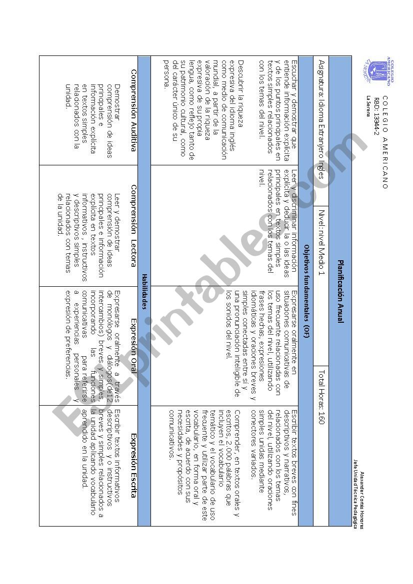 Planning worksheet