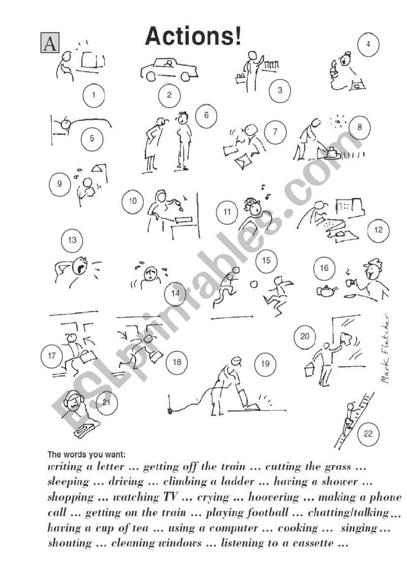 ACTION VERBS TENSE worksheet