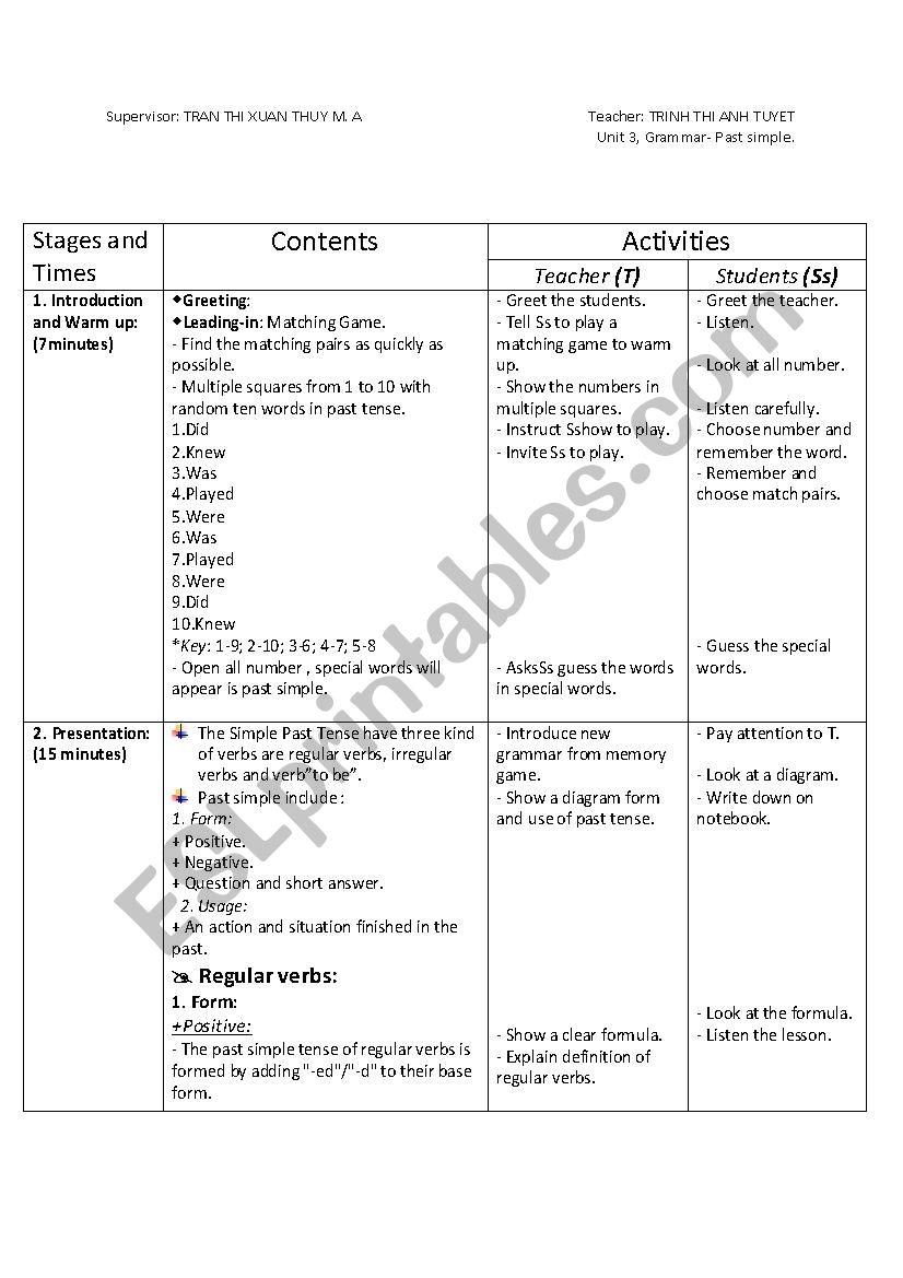 English Worksheets Past Simple Tense