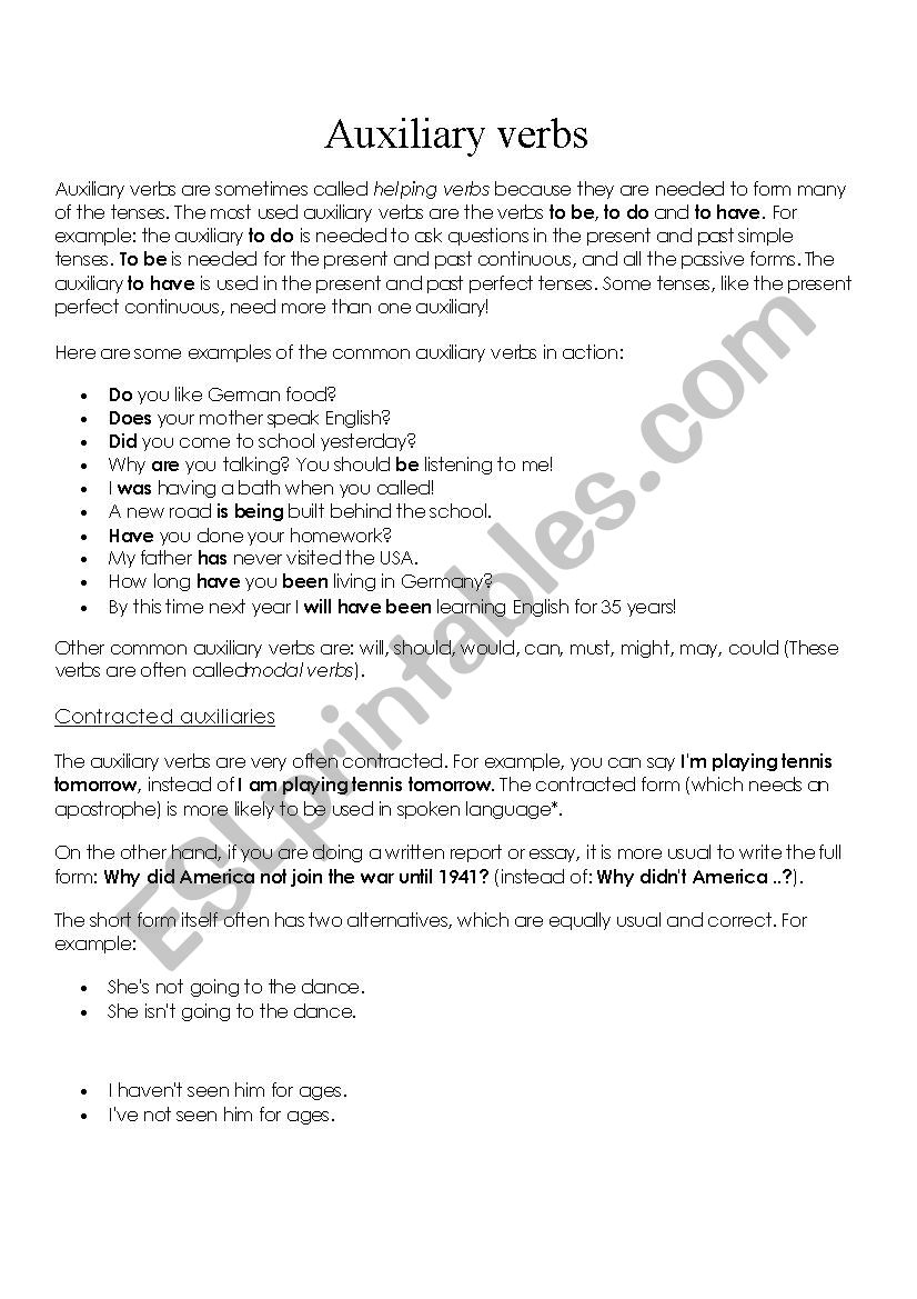 Auxiliary Verbs - ESL worksheet by becky0011