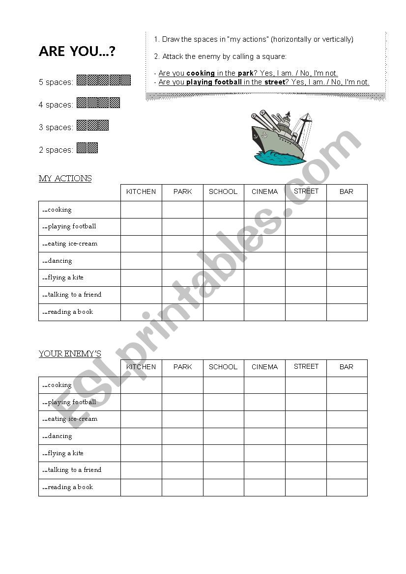 Battleship - ARE YOU...  worksheet
