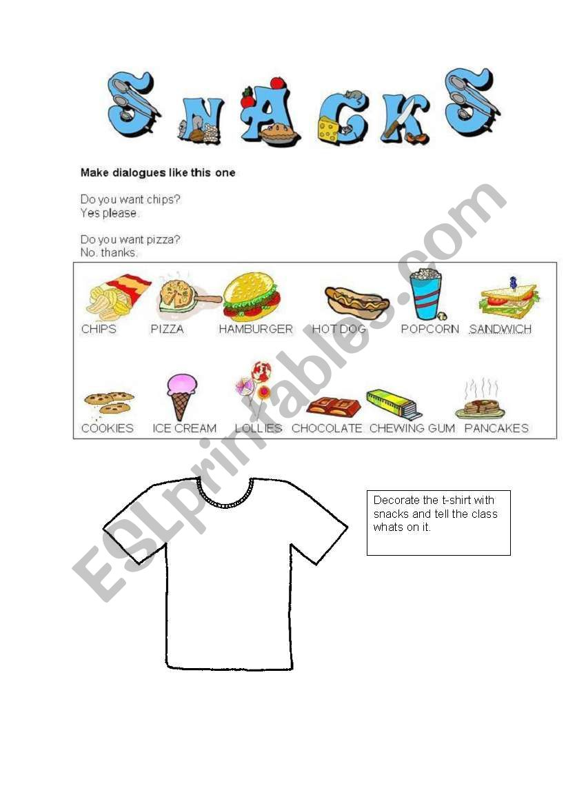 SNACKS worksheet