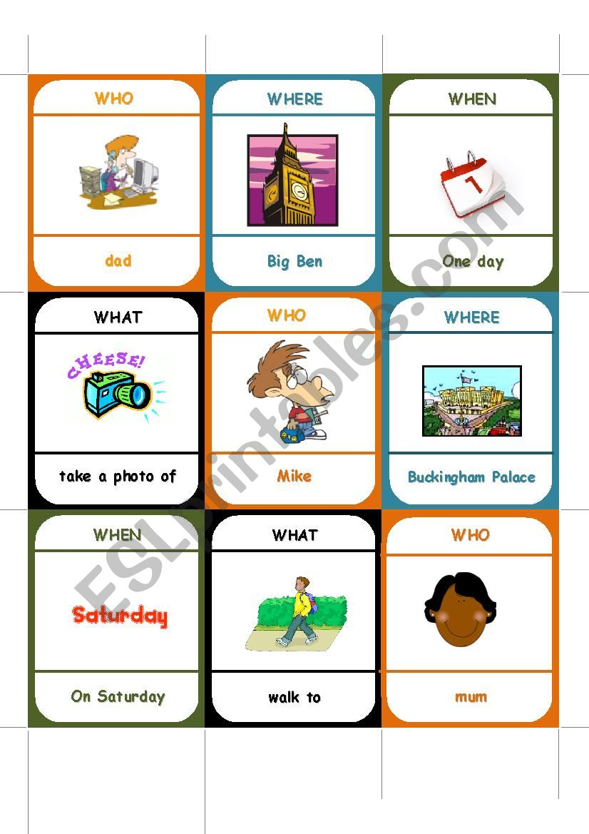 WE in London card game worksheet