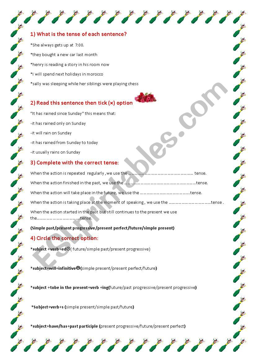 the present perfect worksheet