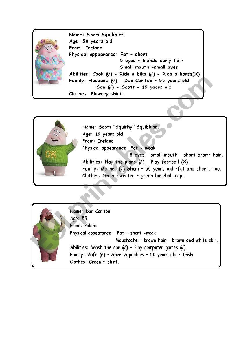 Monsters University - Cards - ESL worksheet by Marialau