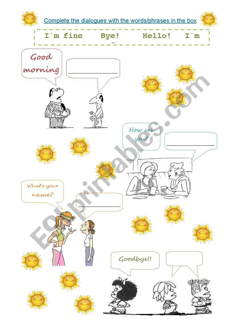 Greetings and farewells worksheet