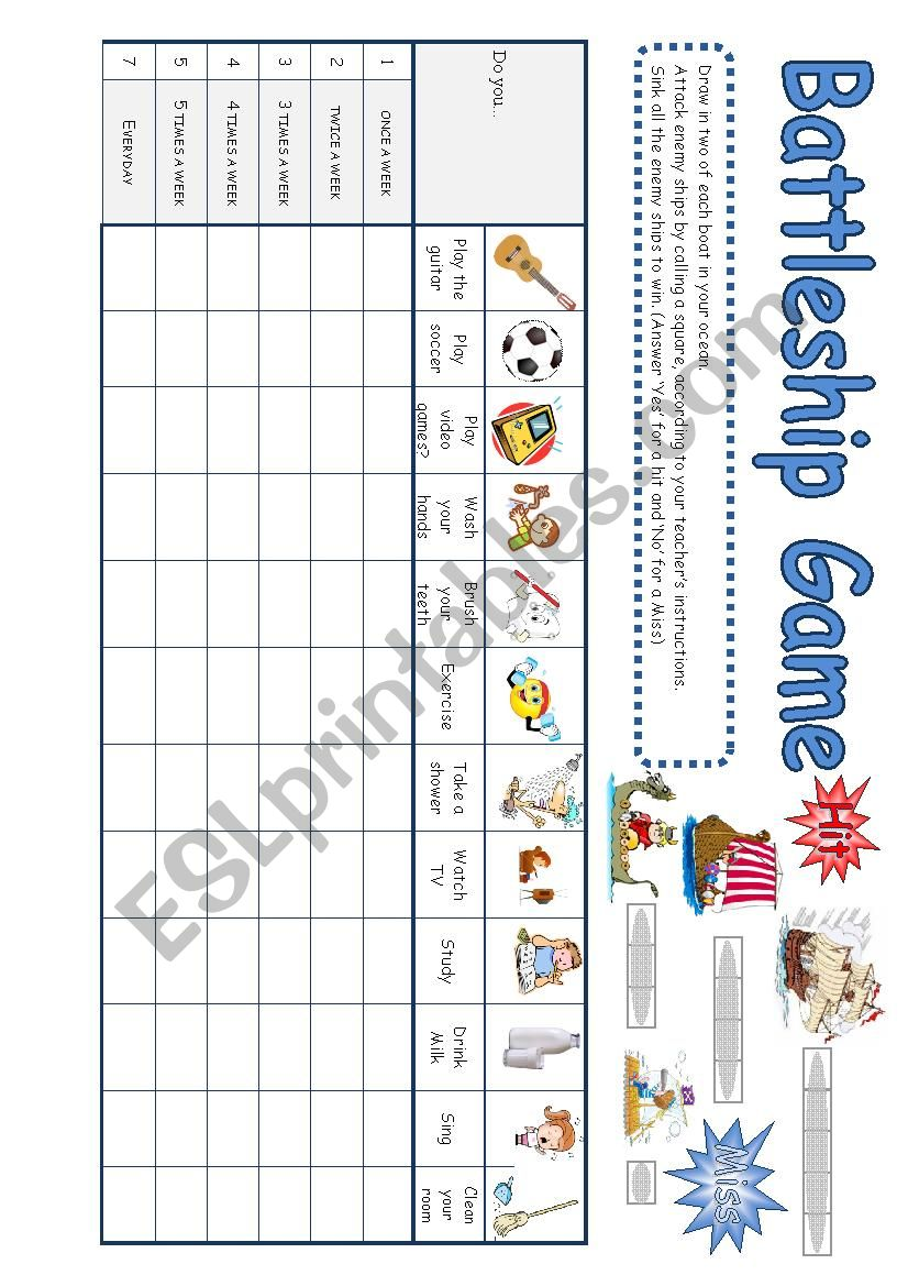 Battleship Esl Worksheet By Gateofgina