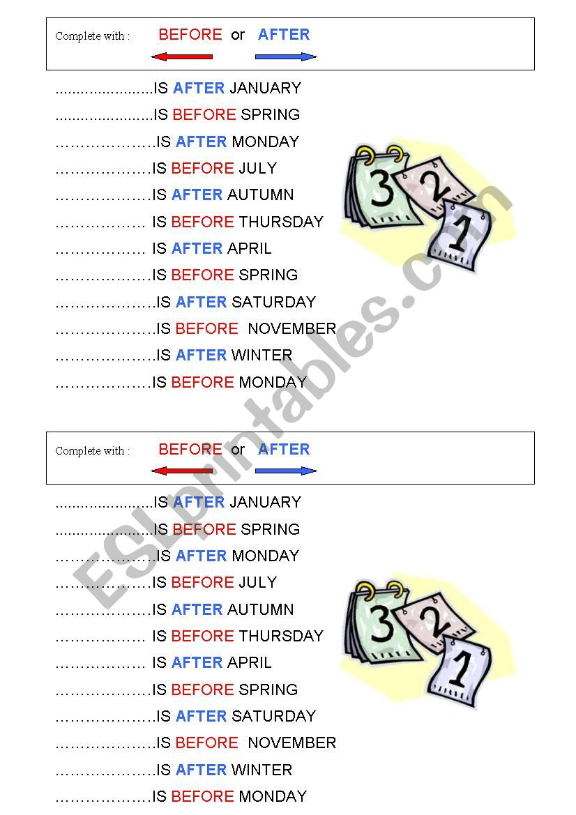 Before or after? worksheet