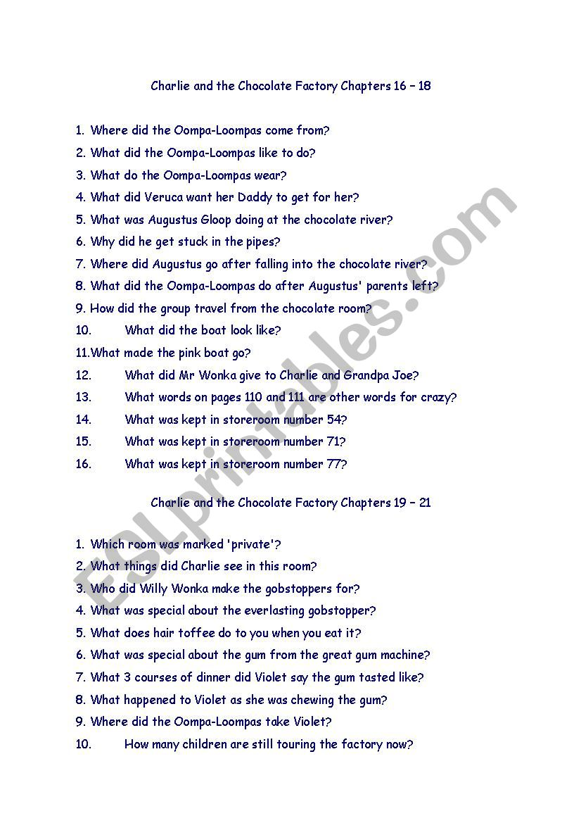 Charlie and the Chocolate Factory Comprehension Questions - ESL worksheet  by studenth