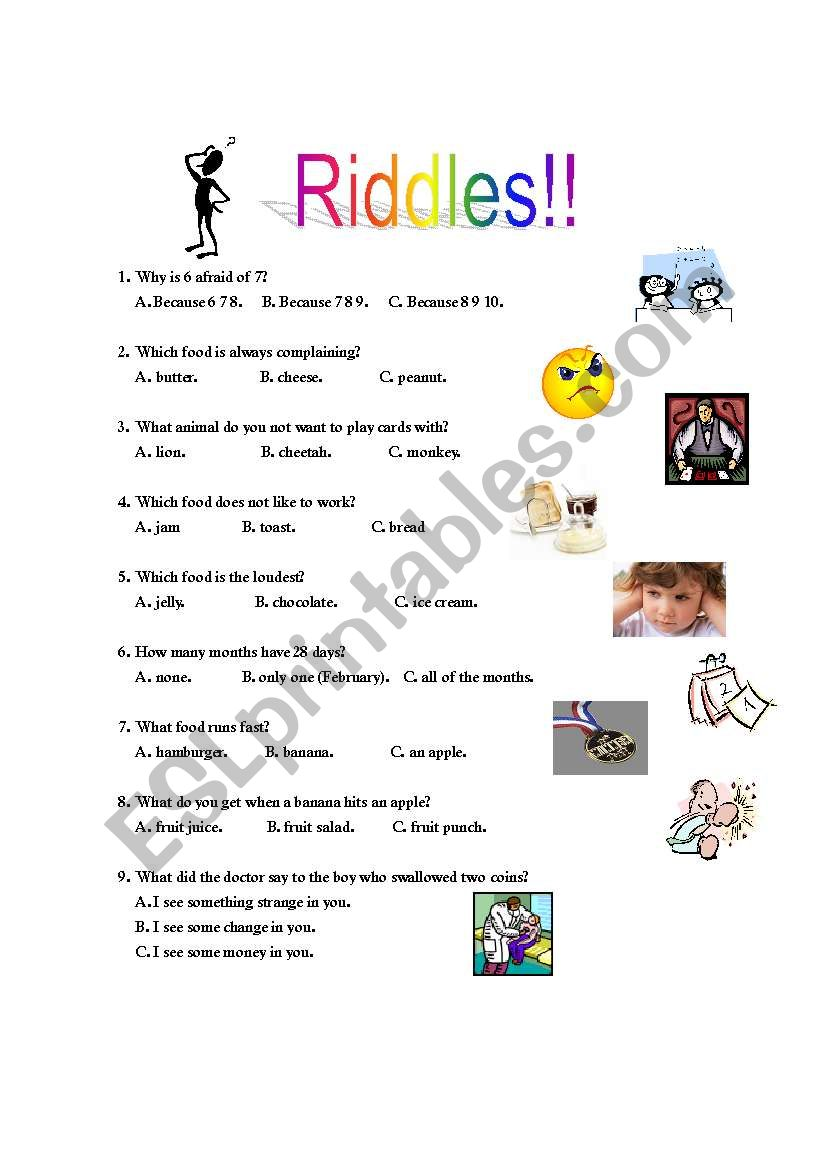 riddles esl worksheet by micah. Black Bedroom Furniture Sets. Home Design Ideas