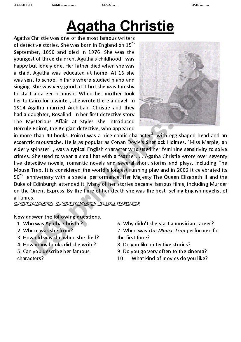 Agatha Christie  worksheet