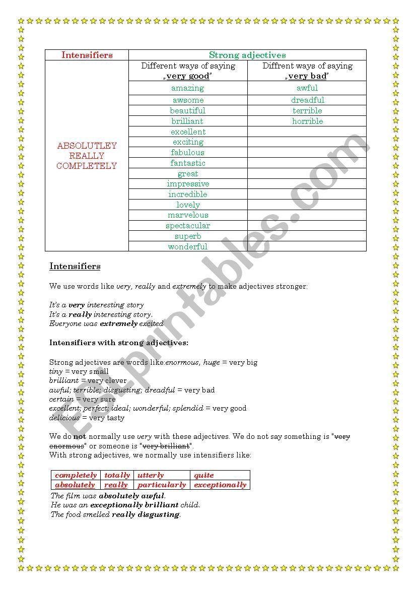 intensifiers worksheet