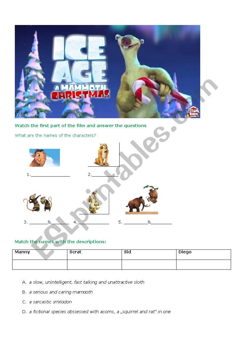 Ice Age Christmas - ESL worksheet by sdobbelsteen