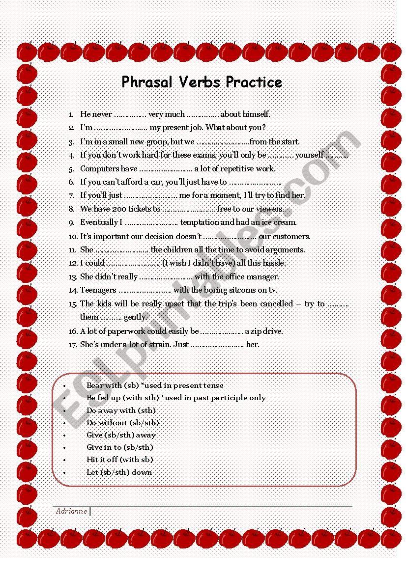 Phrasal verbs worksheet