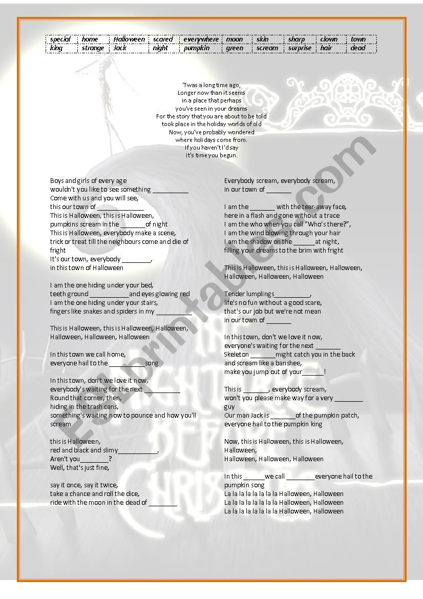this is halloween lyrics - esl worksheettucenaz
