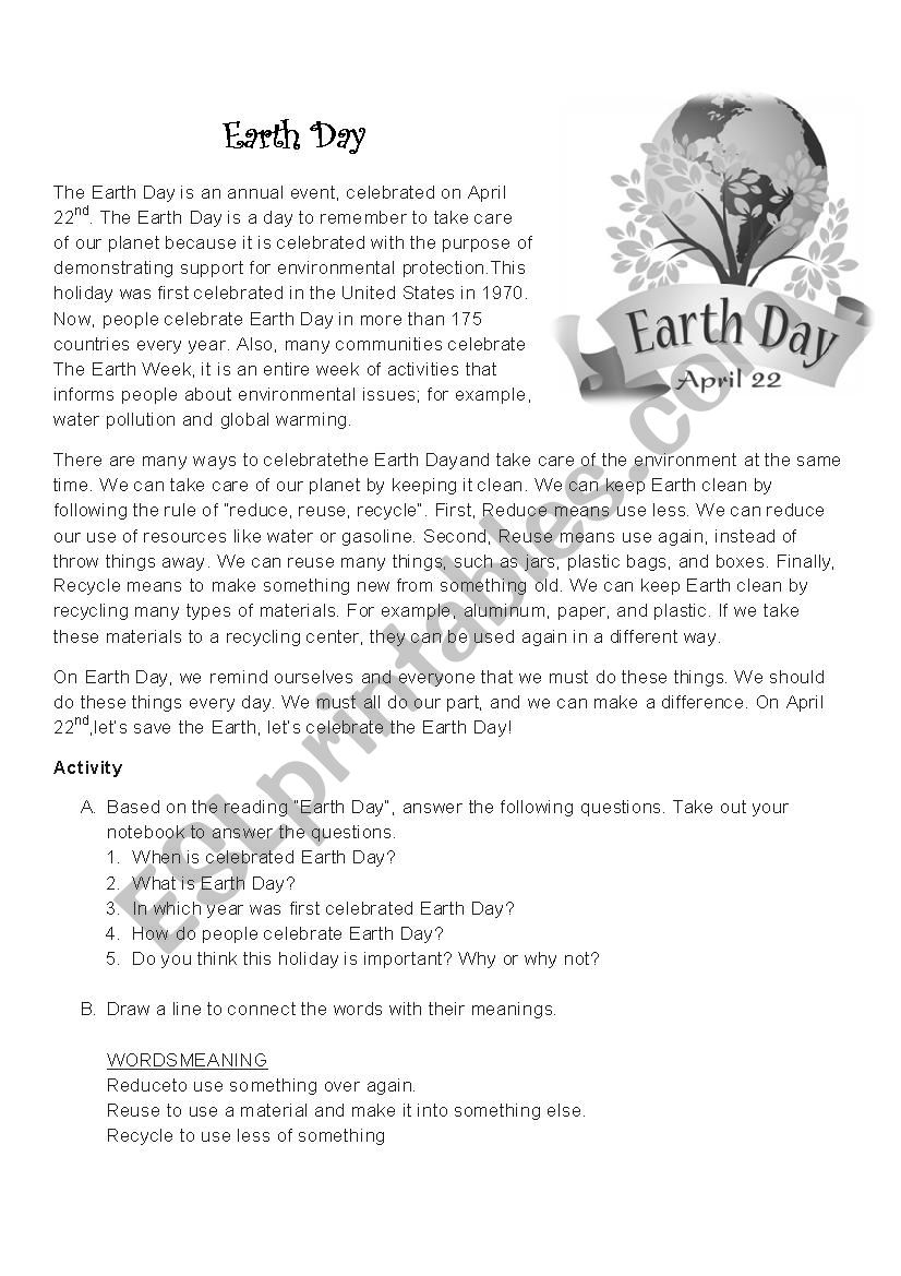 International Earth Day worksheet