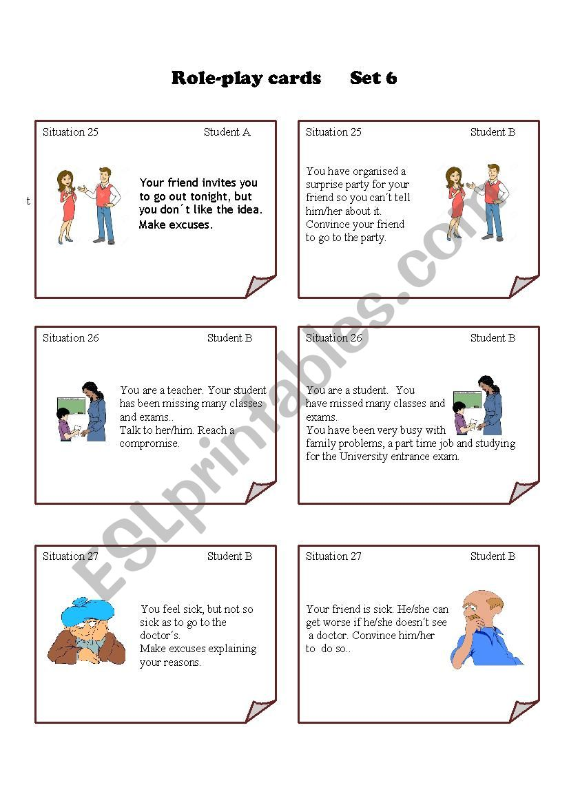 Role-play Cards worksheet