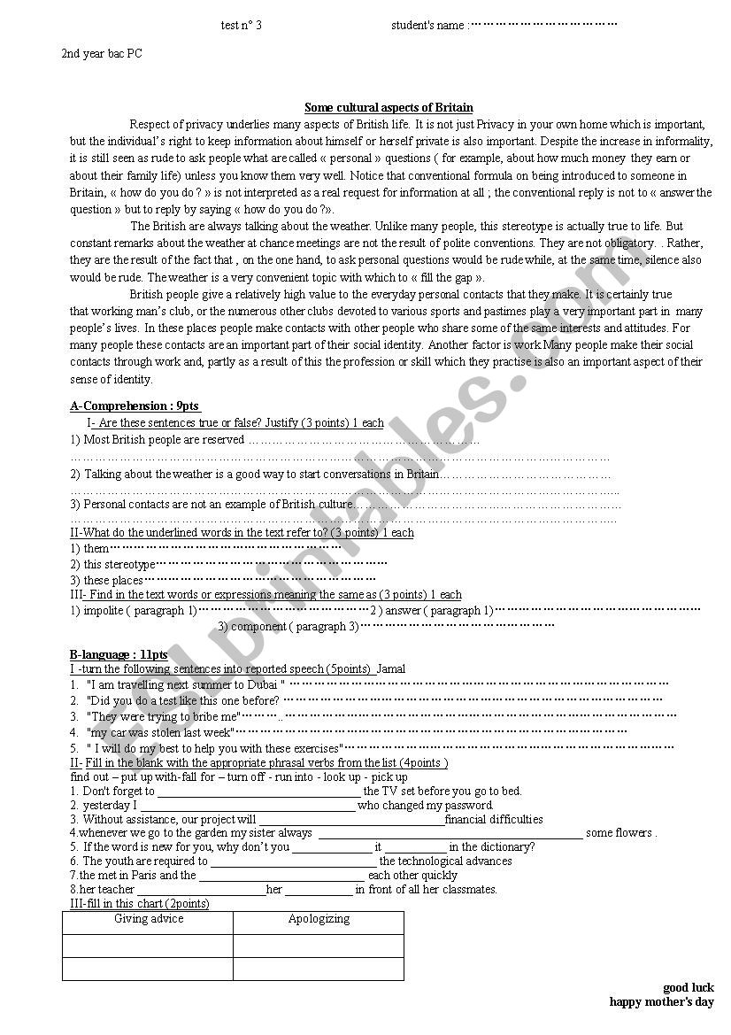 test 2nd year bac  worksheet