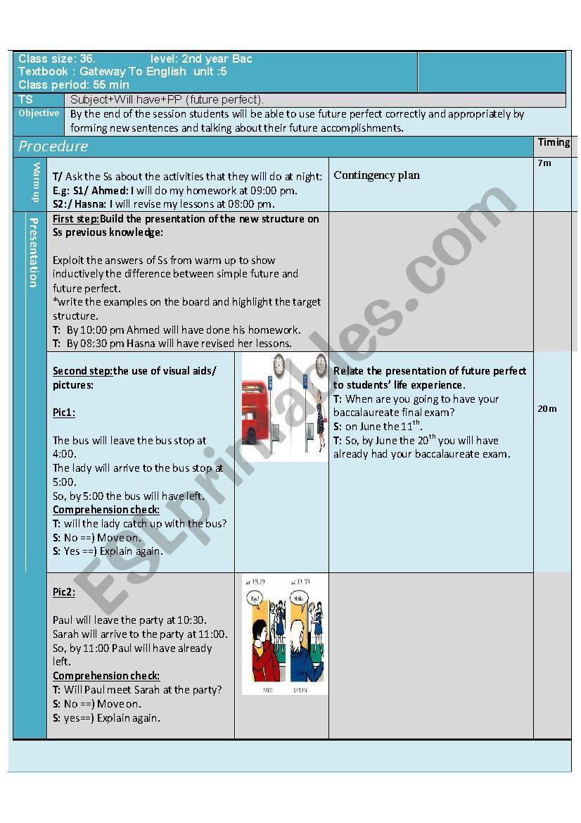Future Perfect Bac Lesson Plan - ESL worksheet by Tahar Jabri