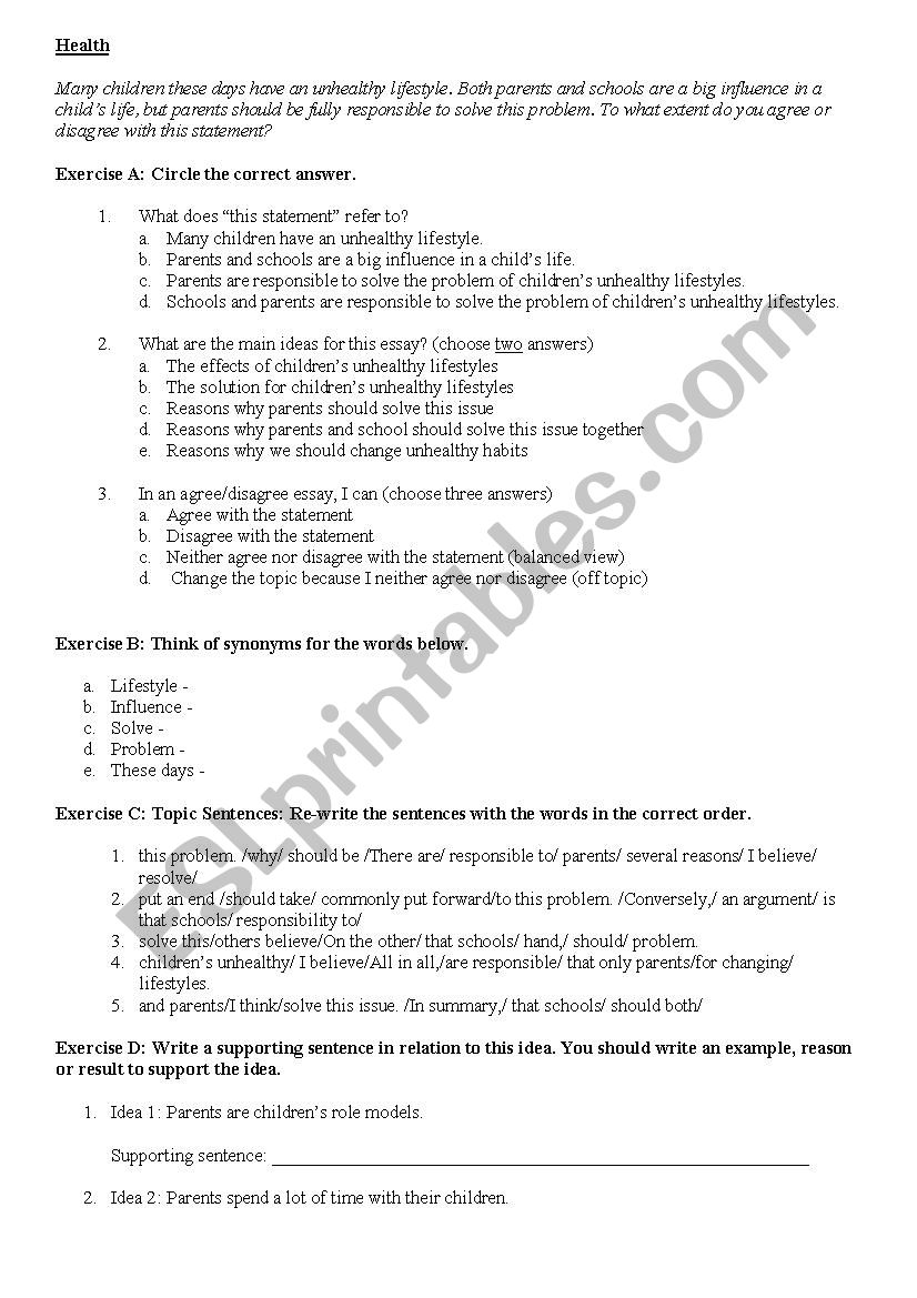 Importance Of English Essay  What Is An Essay Thesis also High School Essays Topics Agreedisagree Essay On Health  Esl Worksheet By Fasya Thesis Statement Example For Essays
