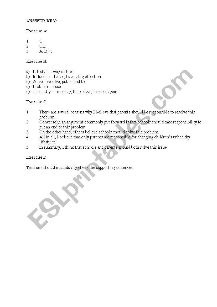 agreedisagree essay on health   esl worksheet by fasya agreedisagree essay on health worksheet