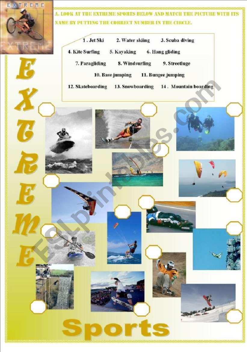 extreme sports esl worksheet by isaserra. Black Bedroom Furniture Sets. Home Design Ideas