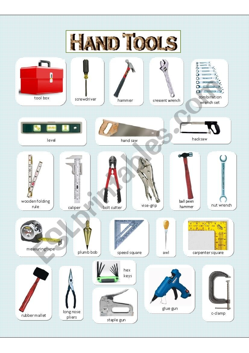 Hand Tools - (1) Pictionary  worksheet