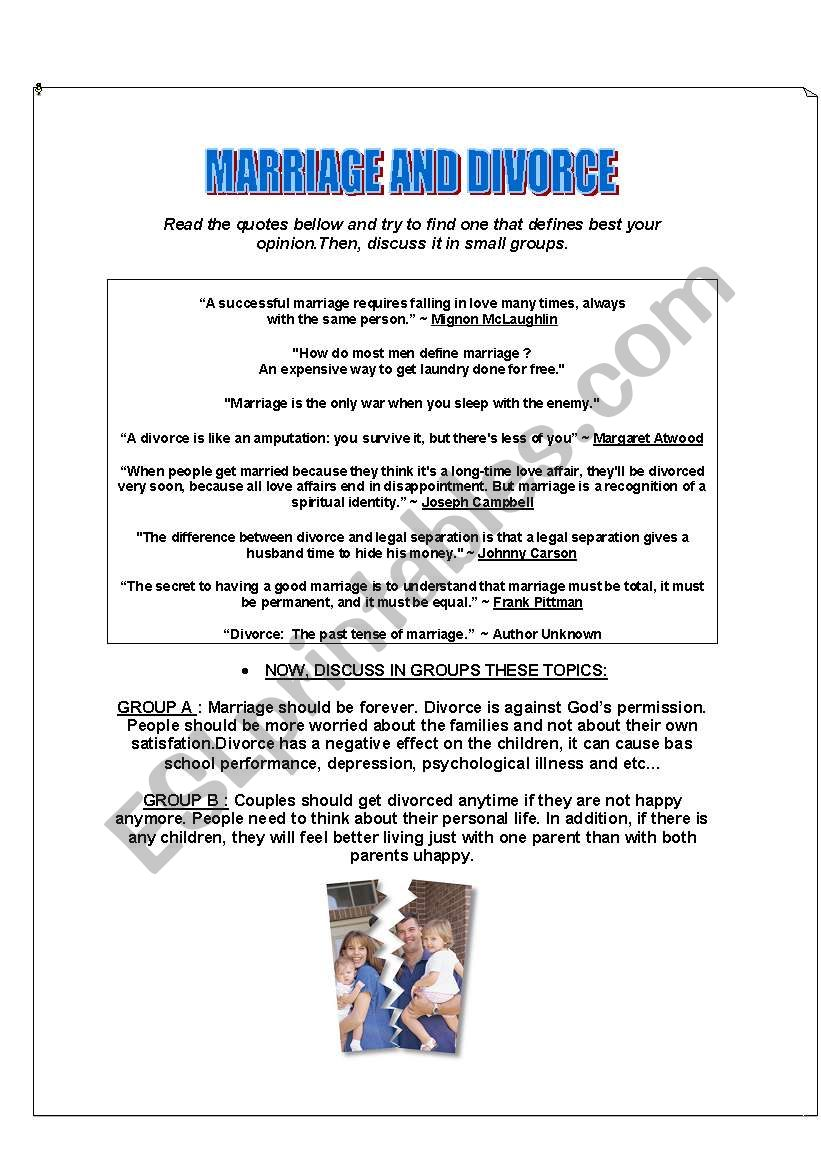 CONVERSATION CLASS - MARRIAGE AND DIVORCE