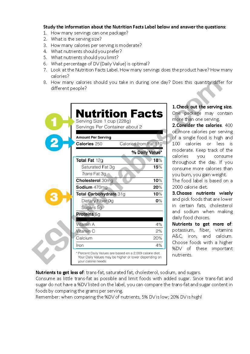 33 Nutrition Facts Label Worksheet Labels Database 2020 [ 1169 x 826 Pixel ]