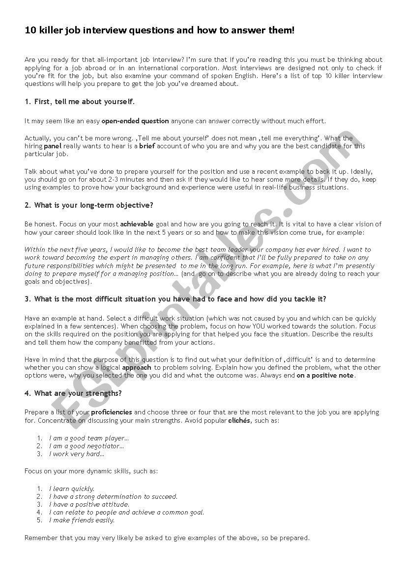 10 Killer job interview questions and answers