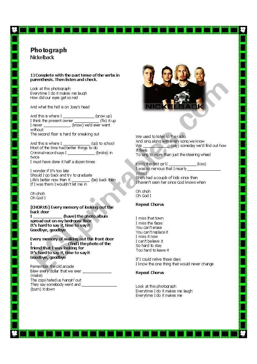Nickelback song - Photograph worksheet