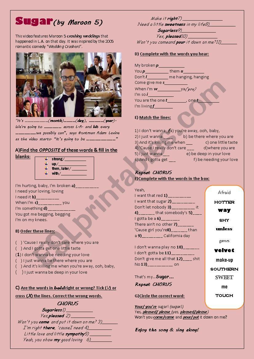 SUGAR (Maroon 5) worksheet