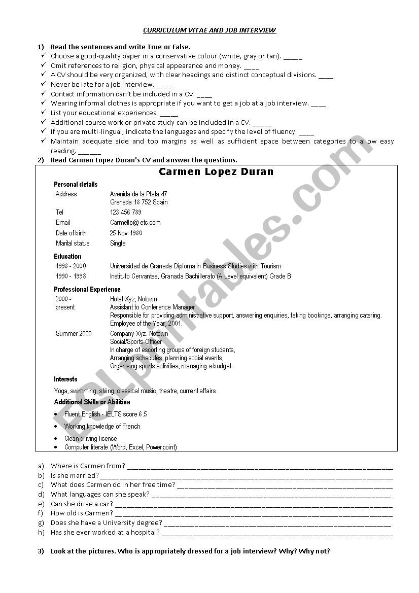 Cv And Job Interview Esl Worksheet By Mariel Acosta