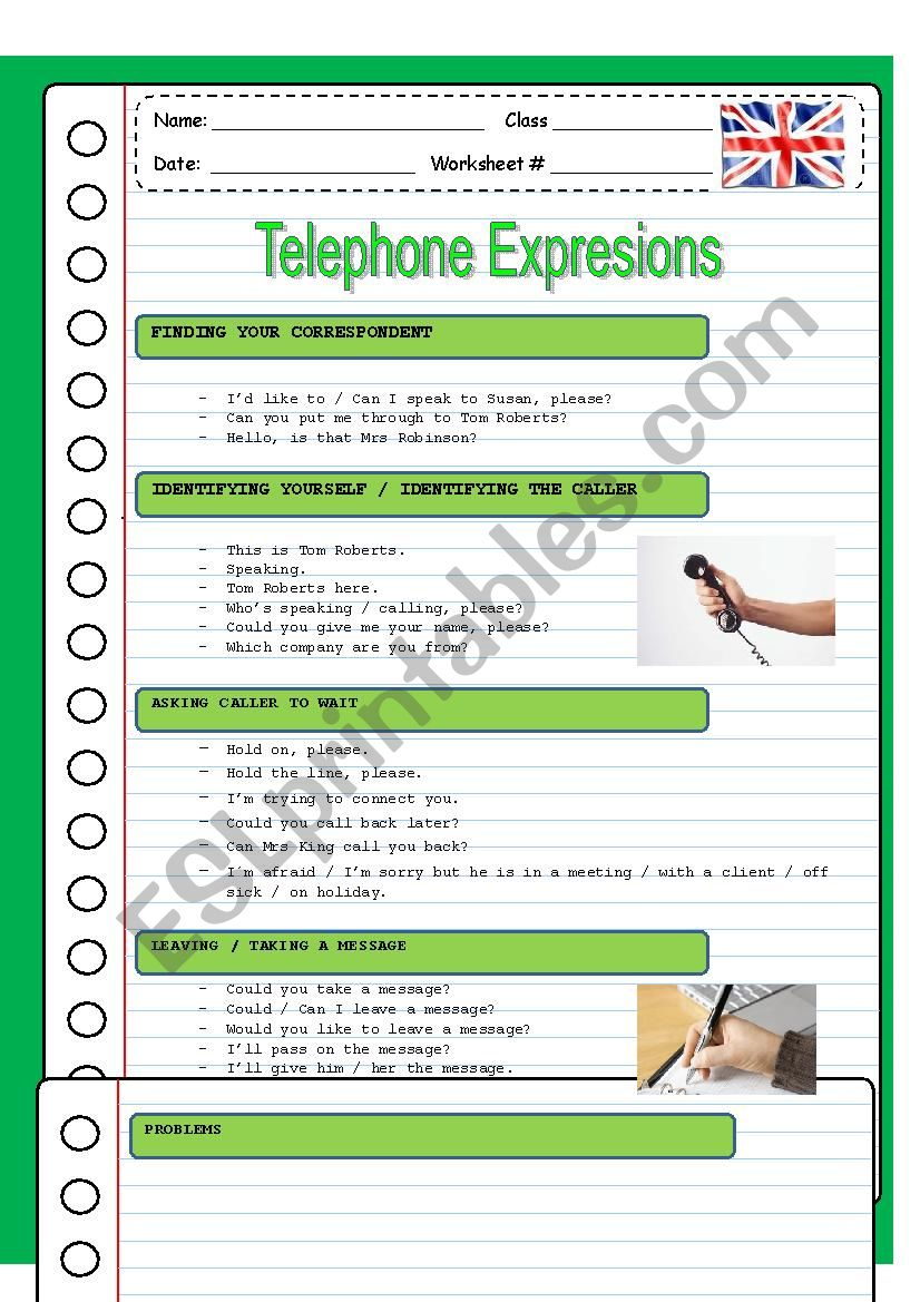 TELEPHONING worksheet